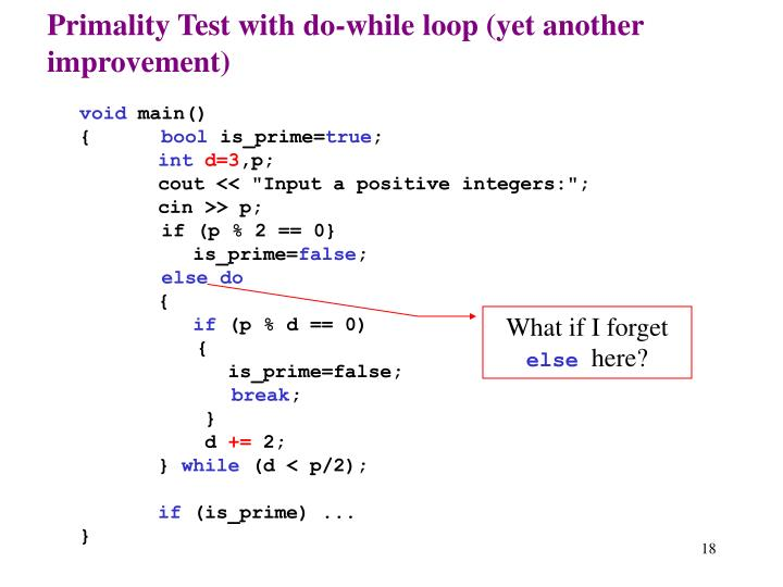 Primality Test with do-while loop (yet another improvement)