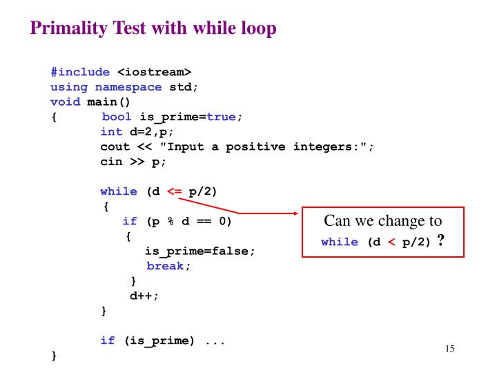 Primality Test with while loop