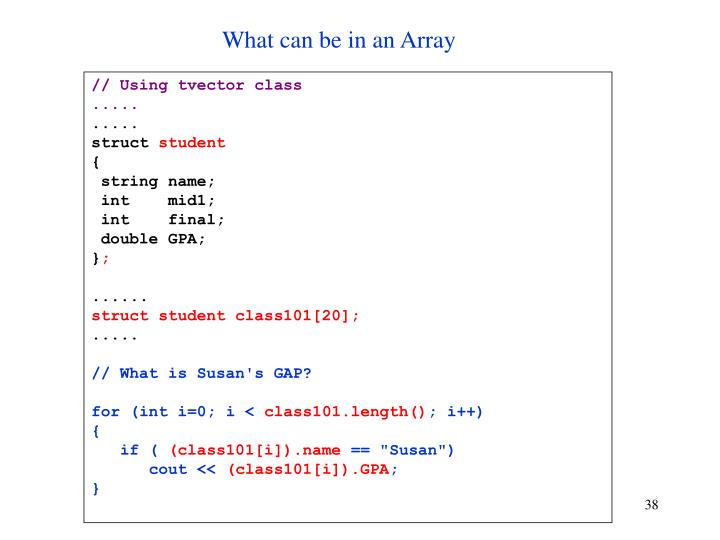 What can be in an Array