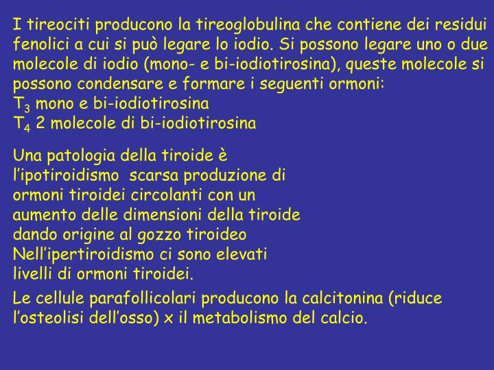 I tireociti producono la tireoglobulina che contiene dei residui fenolici a cui si può legare lo iodio. Si possono legare uno o due molecole di iodio (mono- e bi-iodiotirosina), queste molecole si possono condensare e formare i seguenti ormoni: