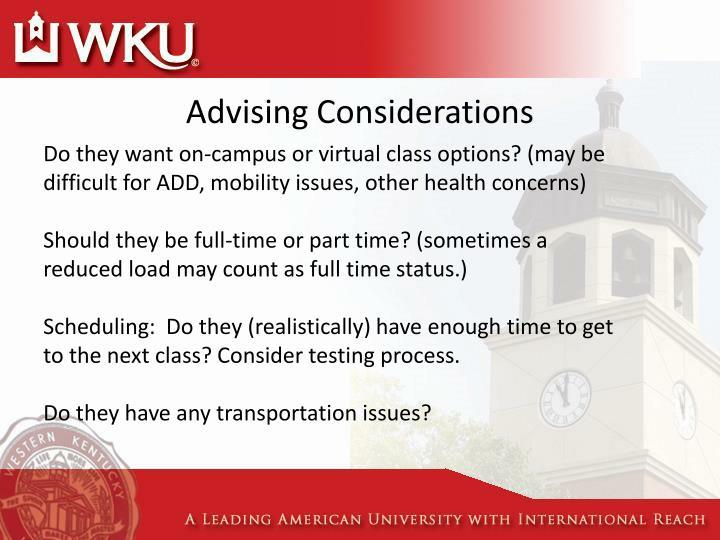 Advising Considerations