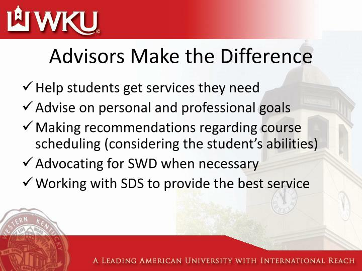 Advisors Make the Difference