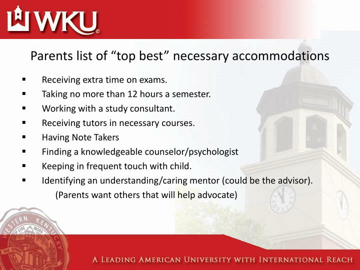 "Parents list of ""top best"" necessary accommodations"