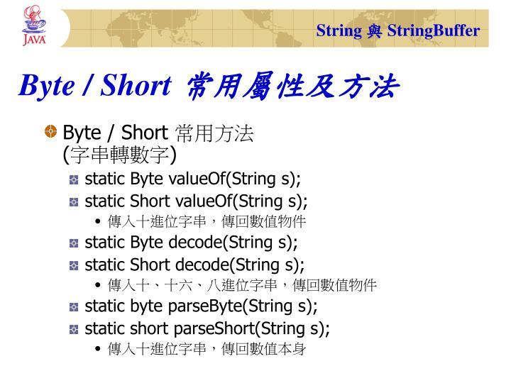 Byte / Short