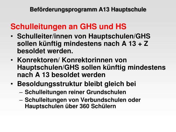 Beförderungsprogramm A13 Hauptschule