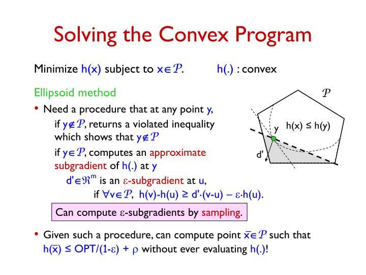 Solving the Convex Program