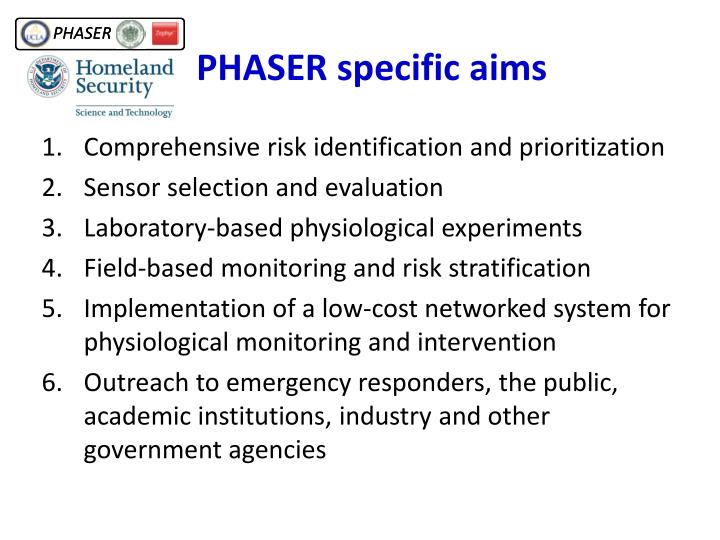 PHASER specific aims