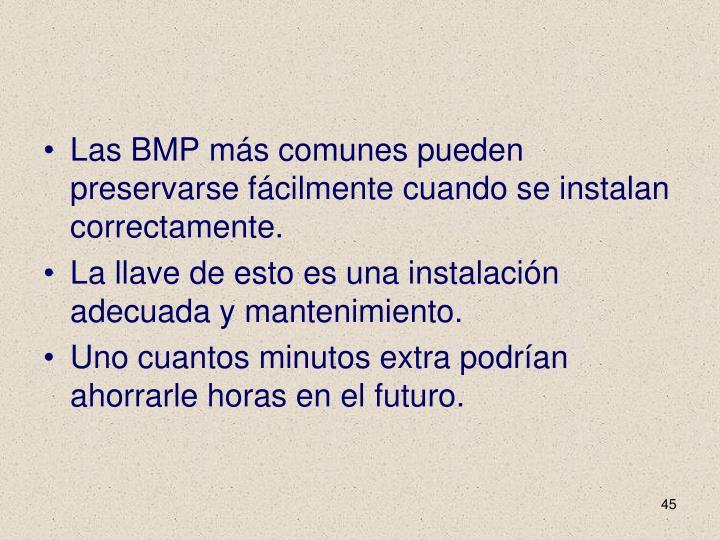 Las BMP más comunes pueden preservarse fácilmente cuando se instalan correctamente.
