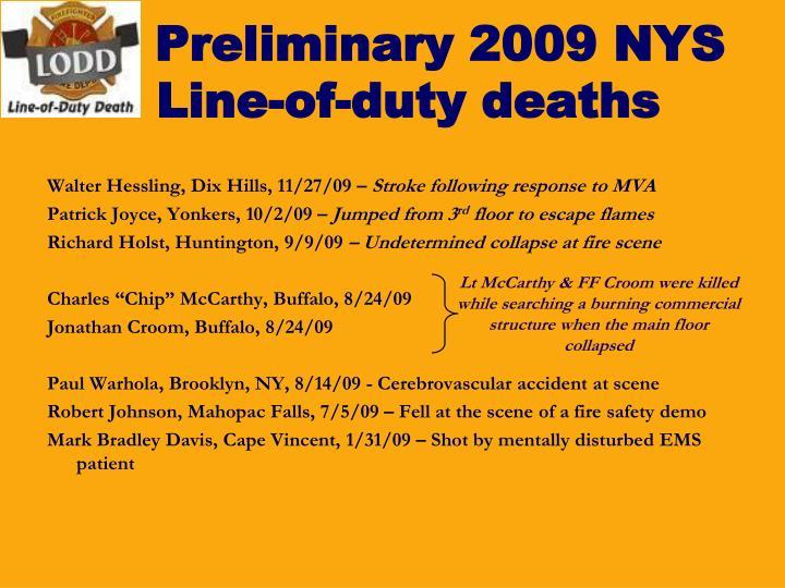 Preliminary 2009 NYS