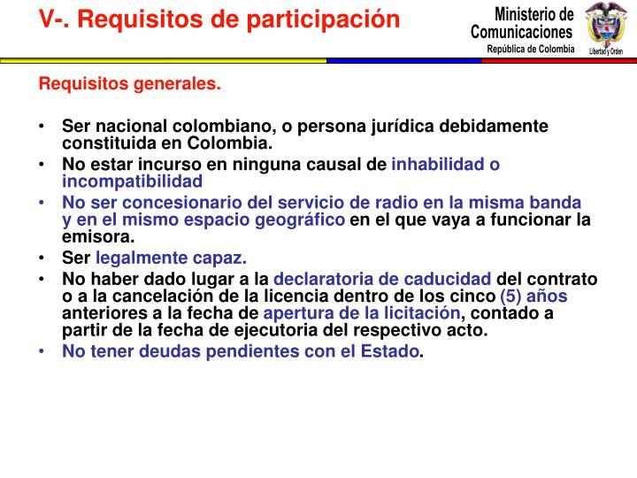 Requisitos generales.