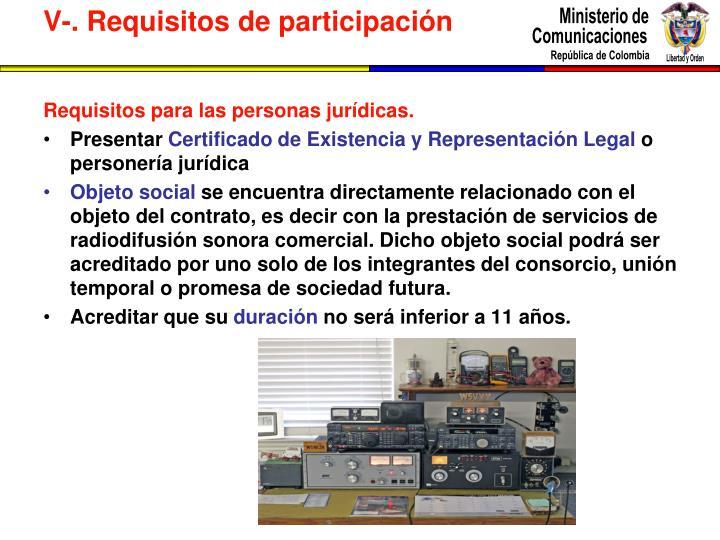 Requisitos para las personas jurídicas.