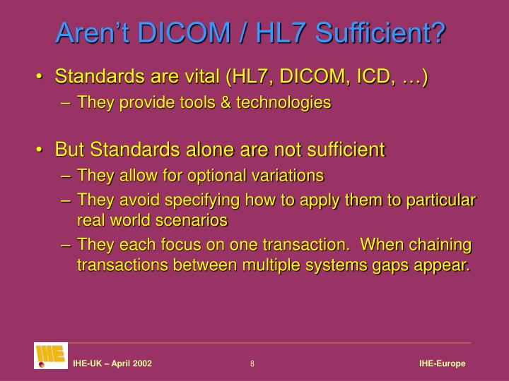 Aren't DICOM / HL7 Sufficient?