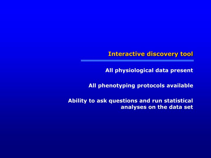 Interactive discovery tool
