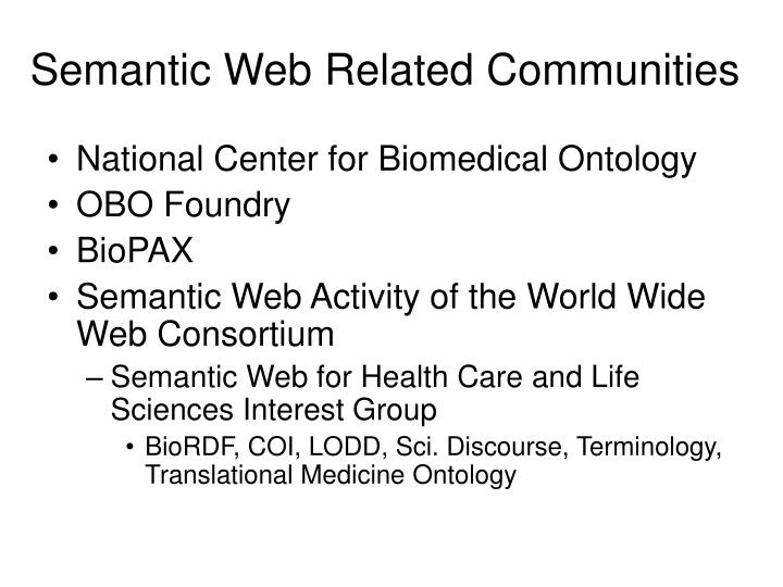 Semantic Web Related Communities