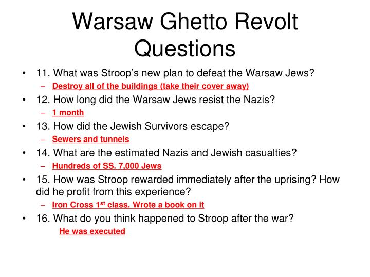 Warsaw Ghetto Revolt Questions
