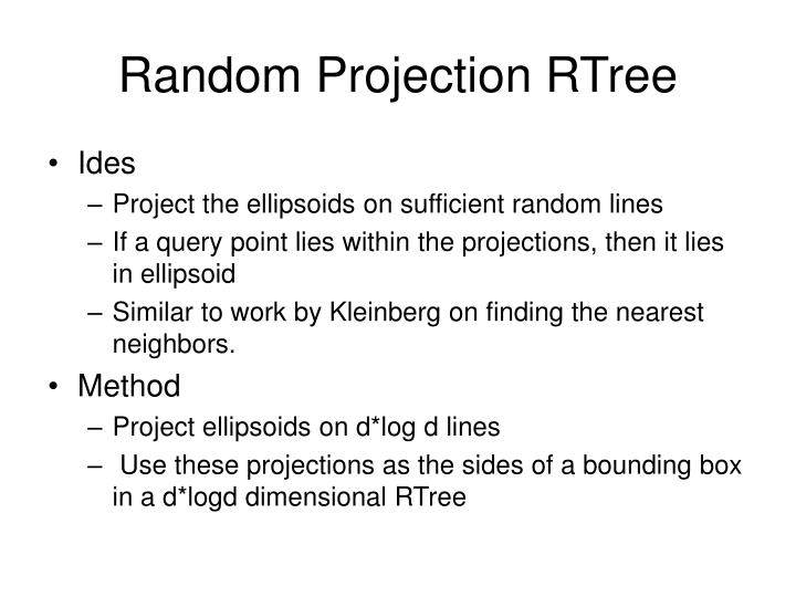 Random Projection RTree