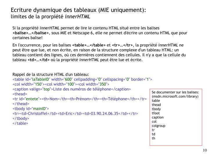 Ecriture dynamique des tableaux (MIE uniquement):