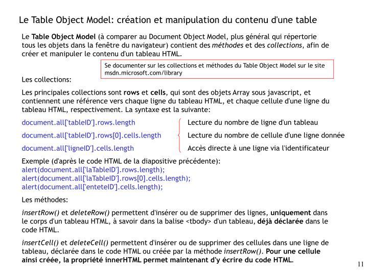 Le Table Object Model: création et manipulation du contenu d'une table