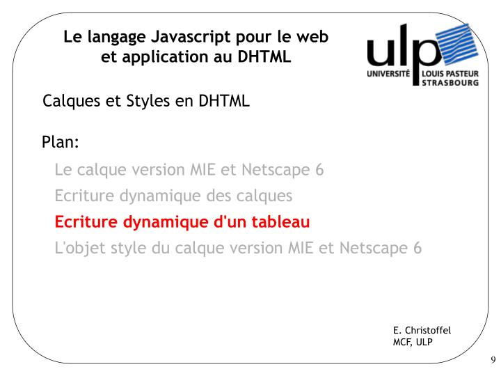 Le langage Javascript pour le web
