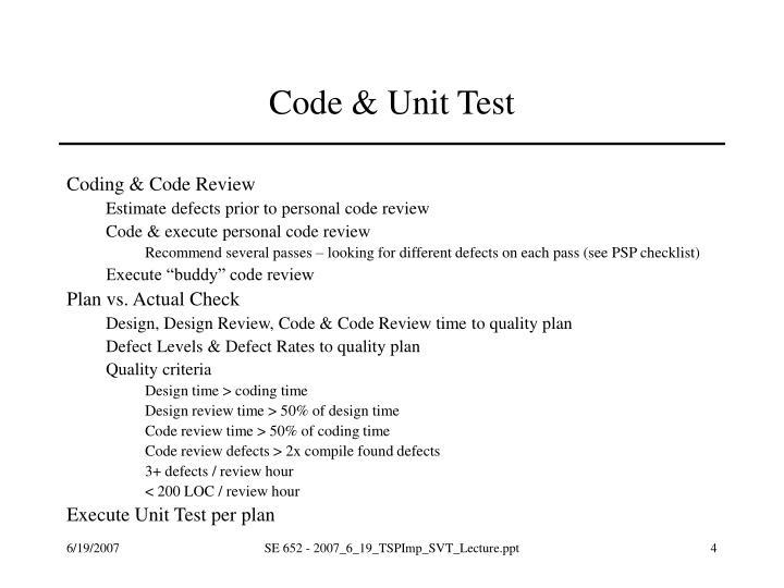 Code & Unit Test
