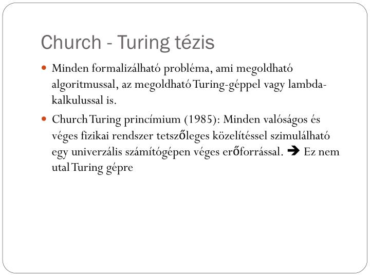 Church - Turing tézis