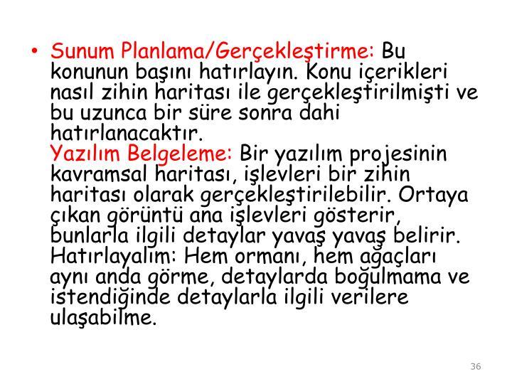 Sunum Planlama/Gerekletirme: