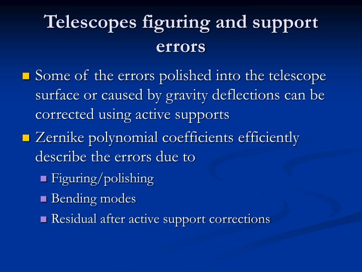 Telescopes figuring and support errors