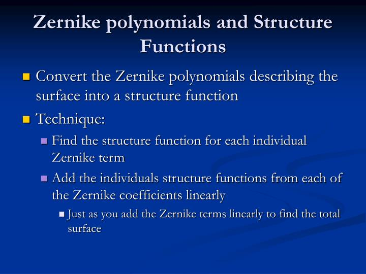 Zernike polynomials and Structure Functions