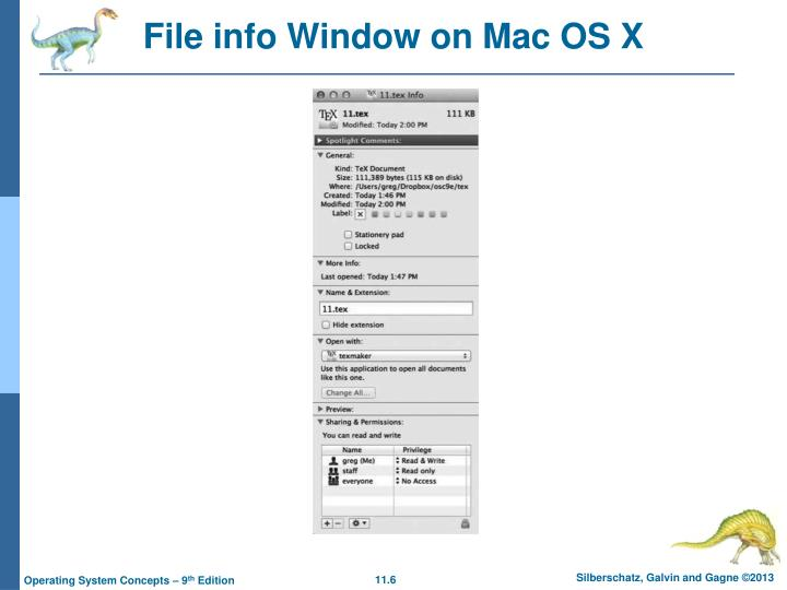 File info Window on Mac OS X
