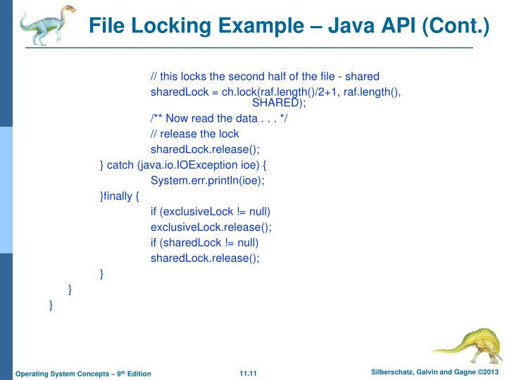 File Locking Example – Java API (Cont.)