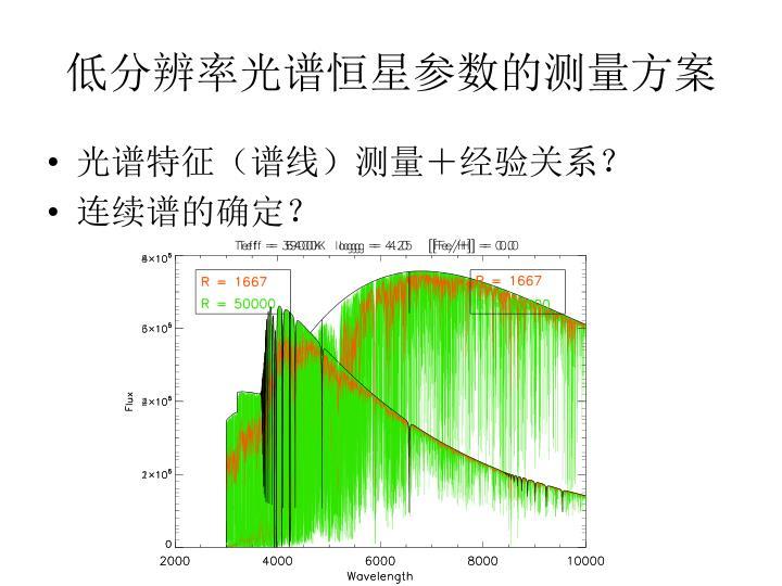 低分辨率光谱恒星参数的测量方案