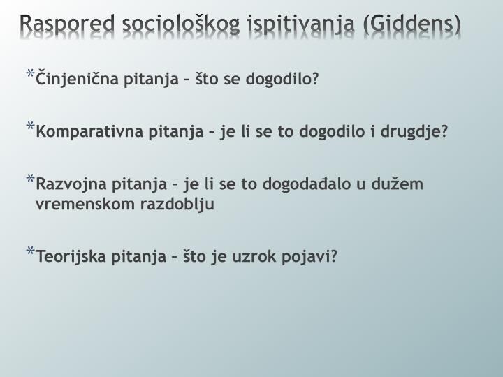 Raspored sociološkog ispitivanja (Giddens)