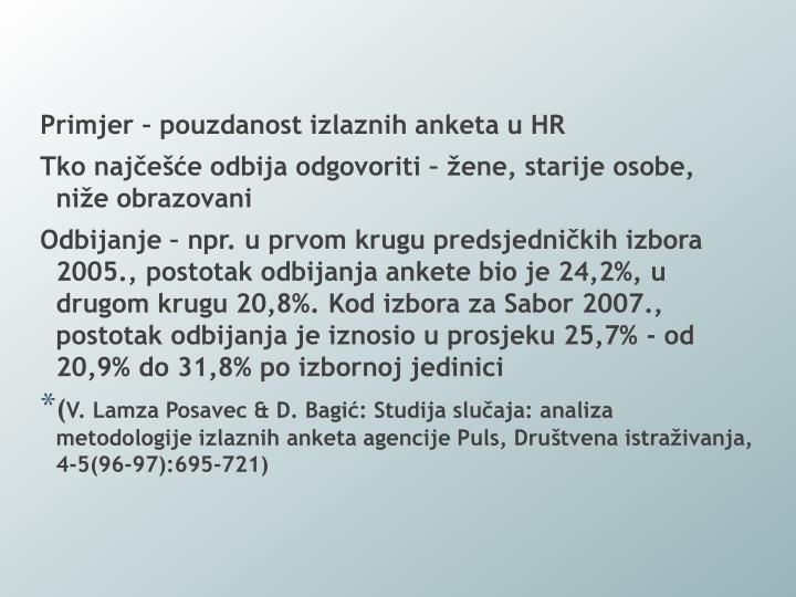 Primjer – pouzdanost izlaznih anketa u HR