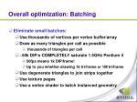 overall optimization batching
