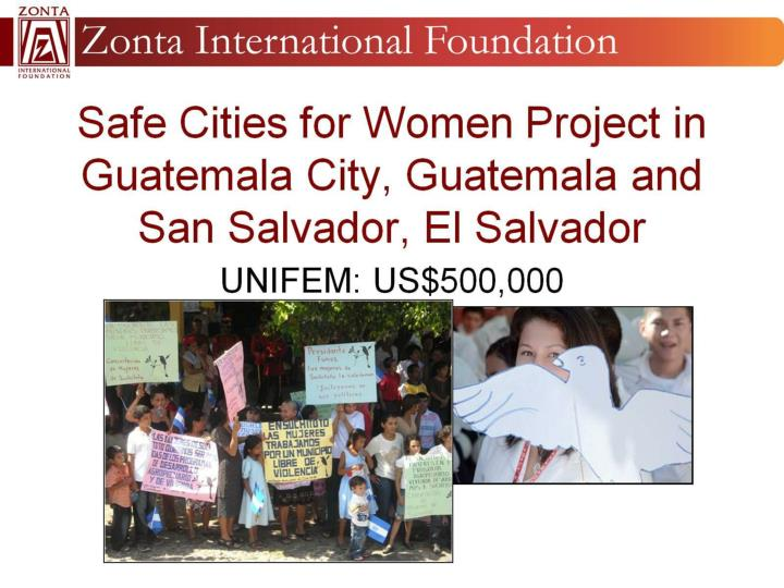 Safe Cities for Women Project in Guatemala City, Guatemala and San Salvador, El Salvador