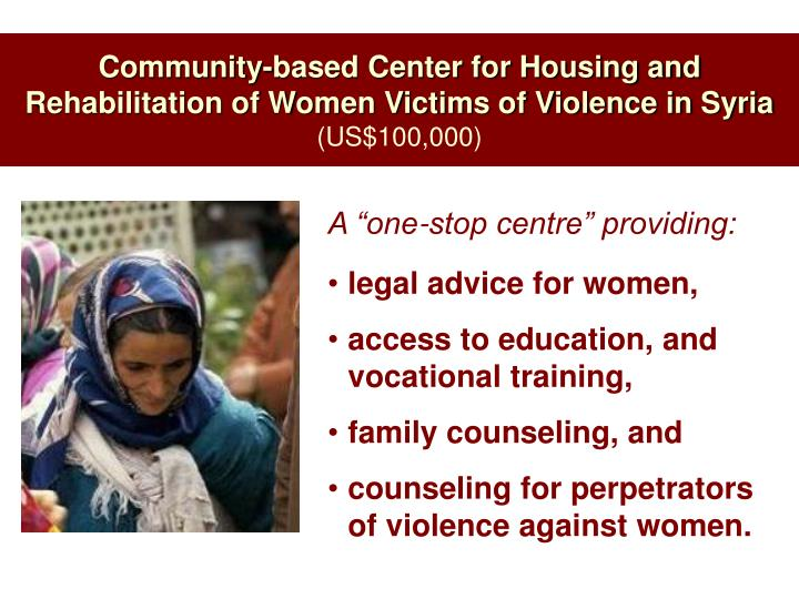 Community-based Center for Housing and Rehabilitation of Women Victims of Violence in Syria