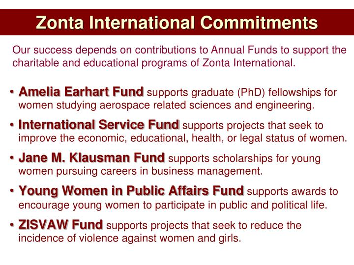 Zonta International Commitments