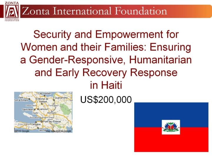 Security and Empowerment for Women and their Families: Ensuring a Gender-Responsive, Humanitarian and Early Recovery Response