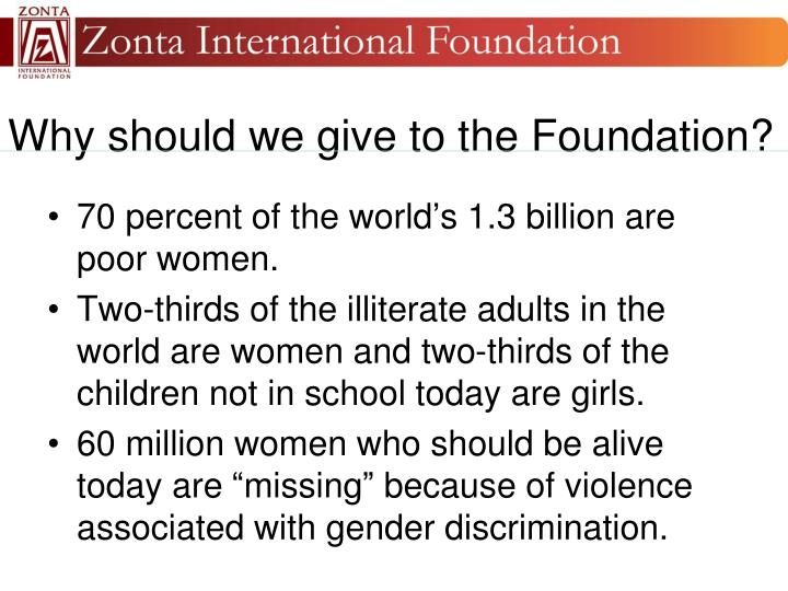 Why should we give to the Foundation?