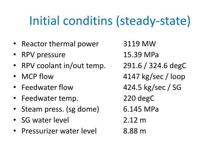 Initial conditins (steady-state)