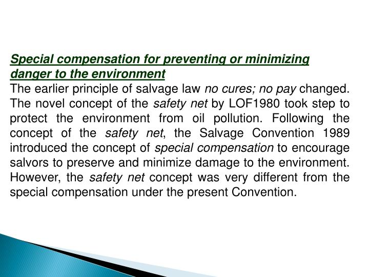 Special compensation for preventing or minimizing danger to the environment