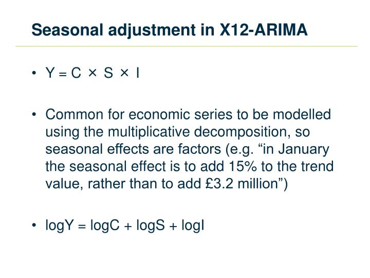 Seasonal adjustment in X12-ARIMA