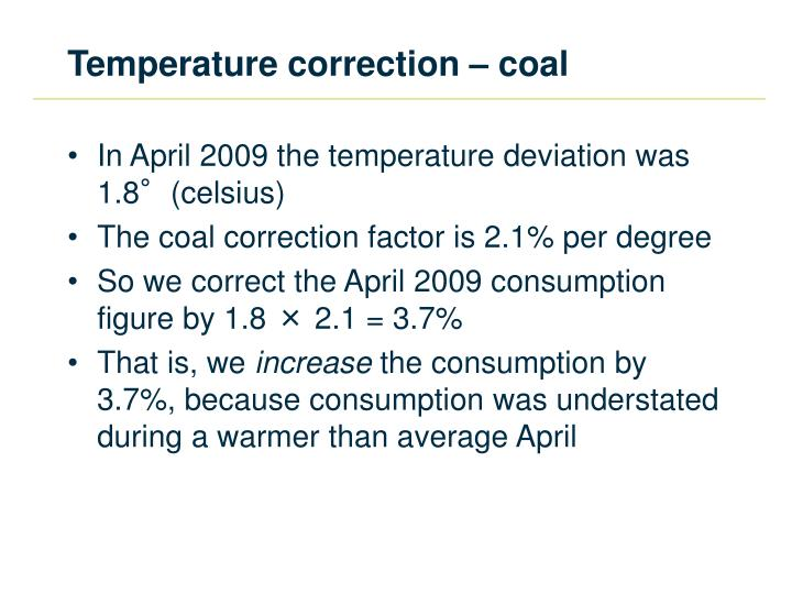Temperature correction – coal