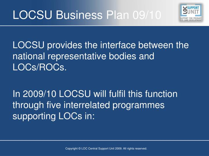 LOCSU Business Plan 09/10