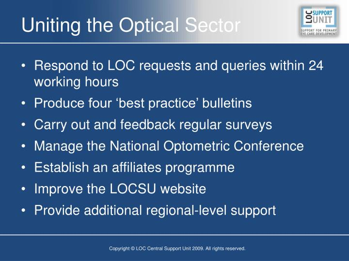 Uniting the Optical Sector