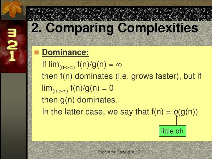 2. Comparing Complexities