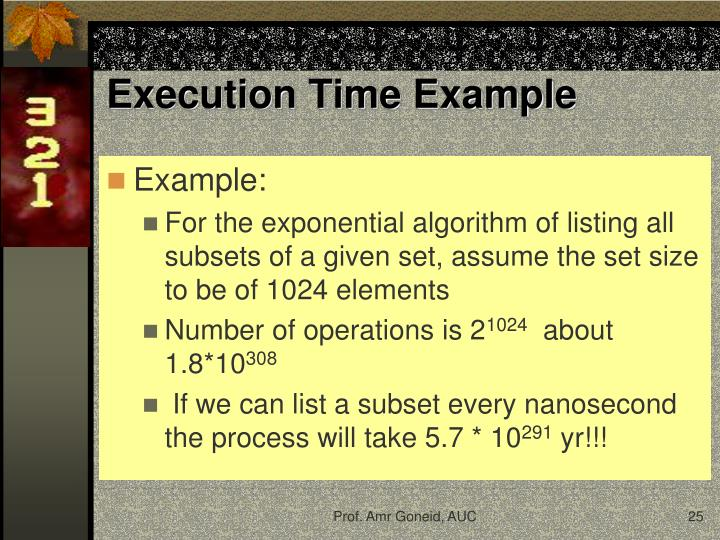 Execution Time Example