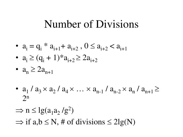 Number of Divisions