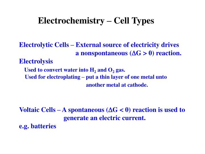 Electrochemistry – Cell Types