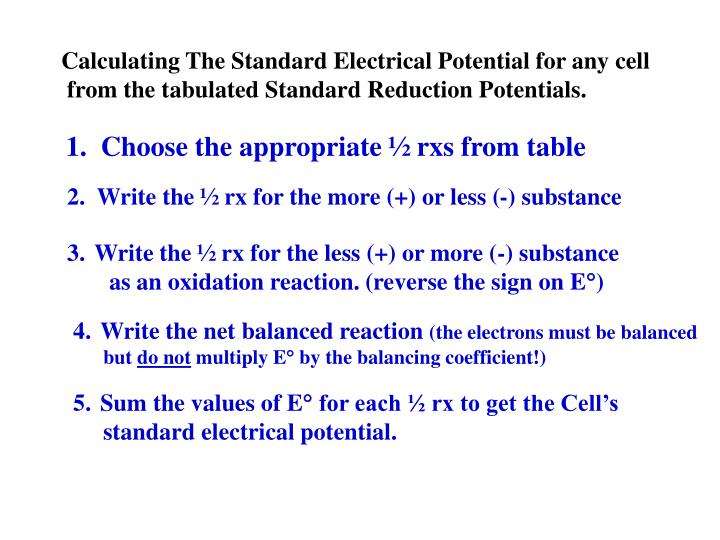 Calculating The Standard Electrical Potential for any cell